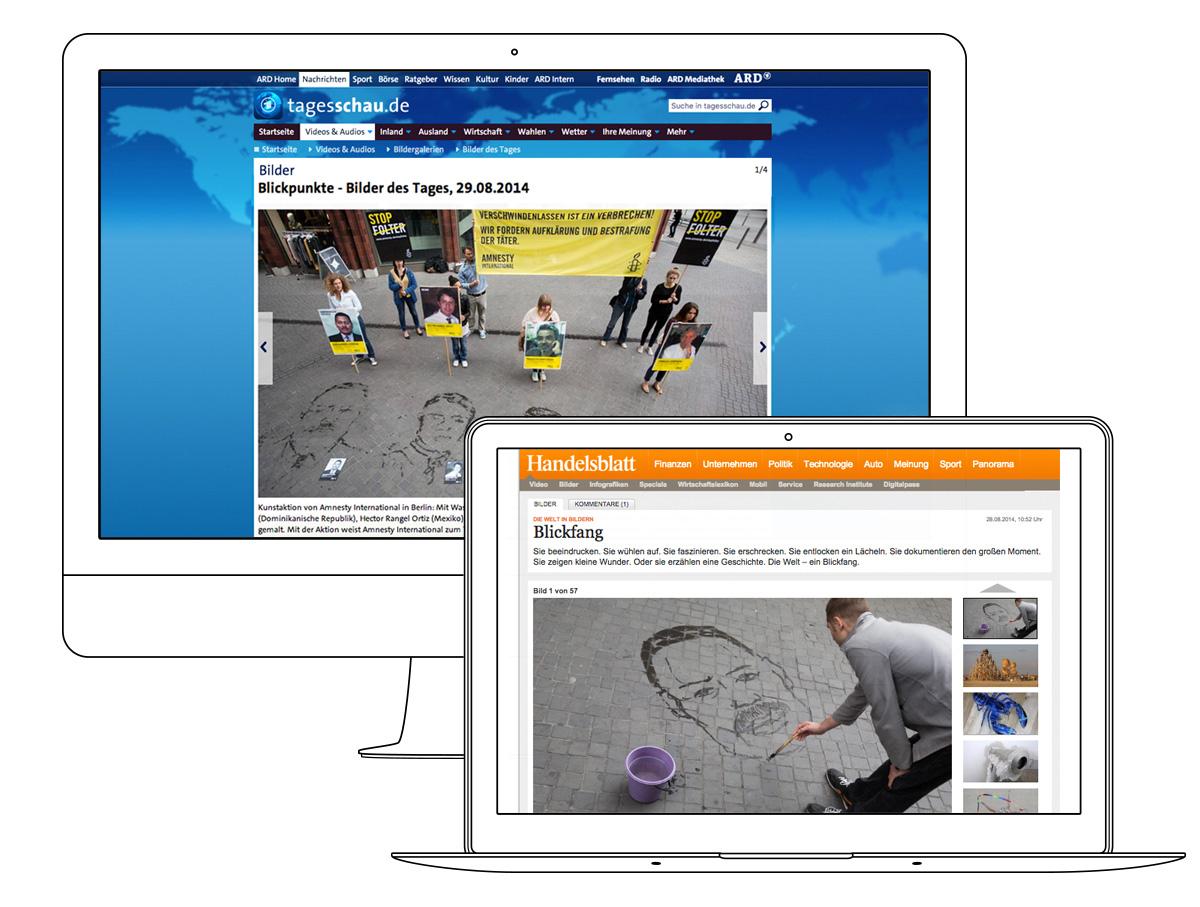 Online-Berichte auf den Webseiten der Tagesschau und des Handelsblattes