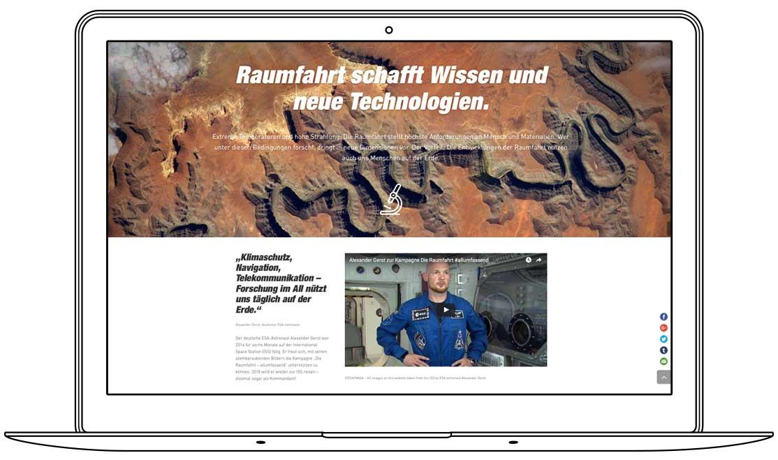 Website - Raumfahrt schafft Wissen und neue Technologien - Alexander Gerst