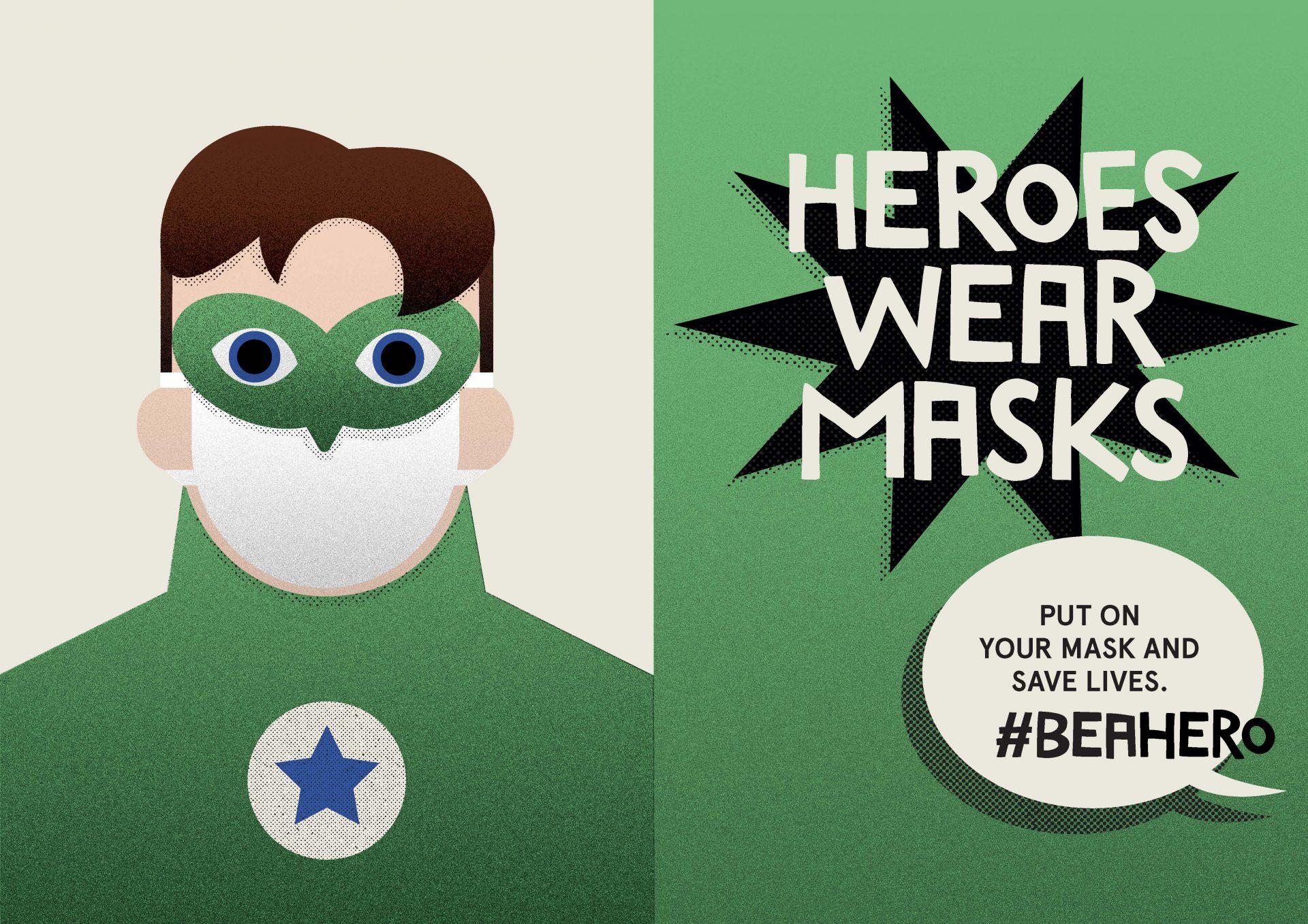 Heroes wear masks. Green lantern.